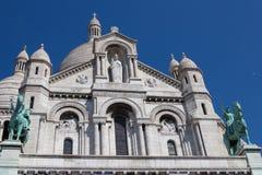 De Kathedraal van Sacrecoeur op Montmartre, Parijs, Frankrijk stock foto's
