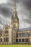 De Kathedraal van Salisbury, Anglicaanse kathedraal in Salisbury, Engeland stock foto's