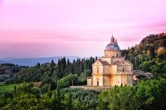 De kathedraal van San Biagio bij zonsondergang, Montepulciano, Ita Royalty-vrije Stock Foto