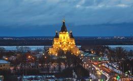 De kathedraal van St Alexander Nevskiy is orthodoxe kerk in Nizhny Novgorod stock foto's