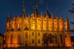 De Kathedraal van St Barbara bij nacht, Kutna Hora royalty-vrije stock foto's