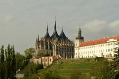 De Kathedraal van St Barbara Church in Kutnà ¡ Hora Royalty-vrije Stock Foto's