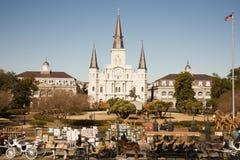 De Kathedraal van St.Louis met toerist Stock Foto