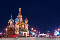 De Kathedraal van StBasil in Moskou nightshot Royalty-vrije Stock Foto's