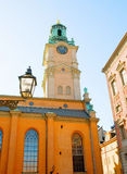 De Kathedraal van Stockholm (Storkyrkan) in Gamla Stan (Oude Stad) zweden Stock Afbeelding