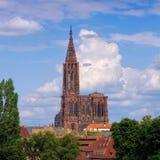 De kathedraal van Straatsburg in de Elzas Stock Afbeelding