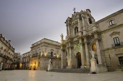 De kathedraal van Syracuse, Sicilië Stock Fotografie