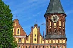 De Kathedraal van torenkoenigsberg Symbool van Kaliningrad, Rusland stock foto's