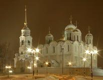 De kathedraal van Uspenskiy bij nacht Stock Foto's