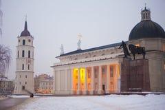 De Kathedraal van Vilnius bij dageraad Stock Fotografie
