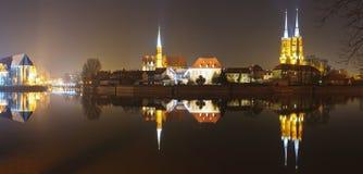 De kathedraaleiland van het panorama in wroclaw Stock Fotografie