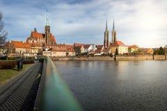 De kathedraalkerk van Wroclaw ostrow tumski royalty-vrije stock foto's
