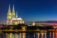 De Kathedraalrivier Rijn van Keulen Royalty-vrije Stock Foto's