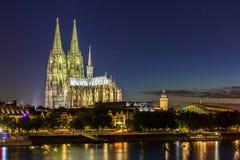 De Kathedraalrivier Rijn van Keulen Royalty-vrije Stock Afbeeldingen