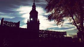 De Kathedraaltoren van de Vitoria Oude Stad Stock Foto