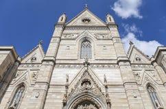 De Kathedraalvoorgevel van Napels, Italië Stock Foto