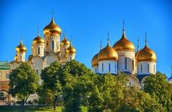 De kathedralen in Moskou het Kremlin Stock Foto's