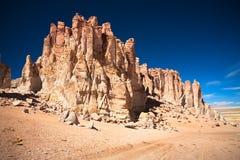 De kathedralen van de rots in Salar DE Tara, Chili Royalty-vrije Stock Afbeeldingen