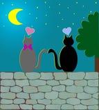 De Katten & het maanlicht van de liefde (vector) Royalty-vrije Stock Fotografie