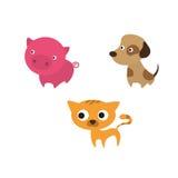 De katten dierlijke reeks van het hondvarken Stock Illustratie