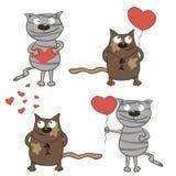 De katten en de harten van het beeldverhaal. Royalty-vrije Stock Foto