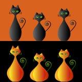 De katten van de pompoen Stock Afbeeldingen