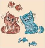 De katten van de volks-stijl met vogels en vissen vector illustratie