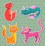 De katten van het beeldverhaal Stock Afbeeldingen