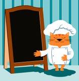 De kattenchef-kok in retro beeldverhaalstijl toont een houten menuraad Stock Fotografie