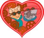De kattenpaar van Steampunk Stock Foto's