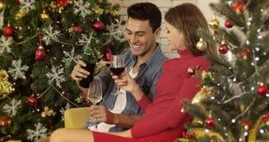 De Kaukasische gietende wijn van de paarmens aan hen stock footage