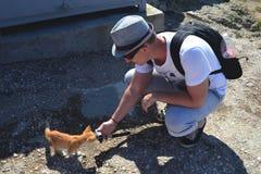 De Kaukasische mens met een rugzak boog en holding neer een actiecamera in zijn uitgestrekte hand Het rode katje snuift de camera royalty-vrije stock foto