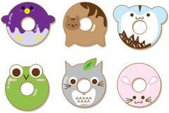 De Kawaiidieren donuts plaatsen op wit geïsoleerd Leuke beeldverhaalkarakters vector illustratie