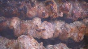 De kebab is gekookt op houtskool stock videobeelden
