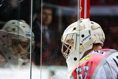 De keeper Nikita Lozhkin van HC Metallurg Novokuznetsk Royalty-vrije Stock Afbeeldingen
