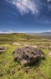 De kei van de lava in een Hawaiiaanse vallei stock afbeelding