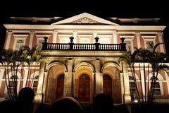 De keizer voorzijde van het Museum 's nachts - Petropolis Stock Foto