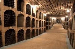 De kelder van de wijn met de flessen royalty-vrije stock afbeelding