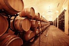 De kelder van de wijn met vaten stock fotografie