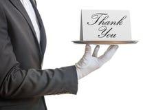 De kelner die een dienblad met Thank aanbieden u kaardt vector illustratie