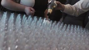 De kelner giet champagne in een glas in viering stock footage