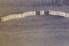 De kennis evenaart machtscitaat Stock Afbeeldingen