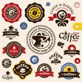 De kentekens en de etiketten van de koffie Stock Foto