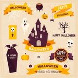 De Kentekens en de Etiketten van Halloween in Uitstekende stijl stock illustratie