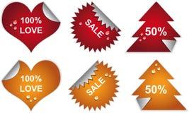 De kentekens en de stickers van etiketten met dalingen. Royalty-vrije Stock Foto