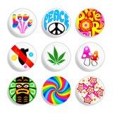 De kentekens van de hippie stock illustratie