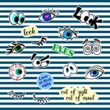 De kentekens van het manierflard met verschillende elementen ogen Reeks van stickers, spelden, flarden en met de hand geschreven  Royalty-vrije Stock Fotografie
