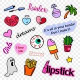 De kentekens van het manierflard Pop-artreeks Stickers, spelden, flarden en met de hand geschreven nota'sinzameling in grappige b Stock Afbeelding
