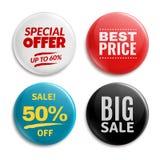 De kentekens van de verkoopspeld Omcirkelde badging knoop, 3d glanzend prijskaartje Grote verkoop, beste prijs en de vectorreeks  vector illustratie