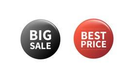 De kentekens van de verkoopspeld Omcirkelde badging knoop, 3d glanzend prijskaartje Grote verkoop, beste prijs vectorkentekens Ge vector illustratie
